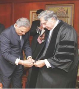 Honorary Doctorate to Mr Ratan Tata (Chairman Tata Enterprise) by Mr Prakash Jain for his great humanitarian work after the 26/11 terrorist attack in Mumbai